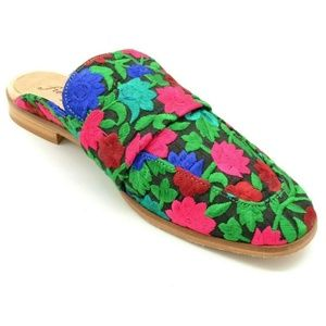 Free People Womans Flat Mules Multi Colored New